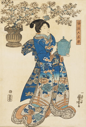 Beauty holding a water pot with a large flowering cherry spray in a pot behind her