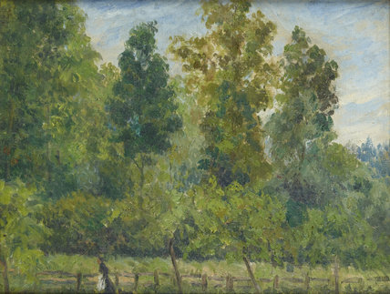 Wooded landscape: a Woman walking with a Dog