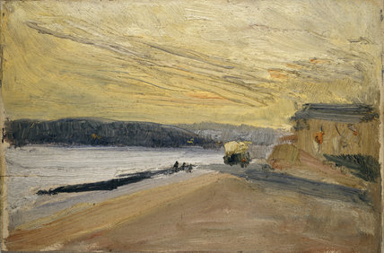 Coast Scene with yellow bus at sunset