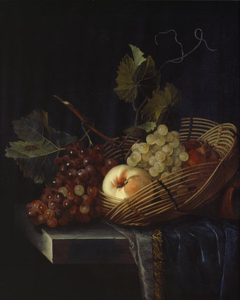 Still Life of a Peach and Grapes
