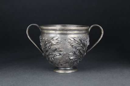 Silver cup with traces of gilding, decorated with sprays of myrtle