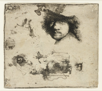 Sheet of studies: Head of the Artist, A beggar Couple, Heads of an old Man and old Woman, etc