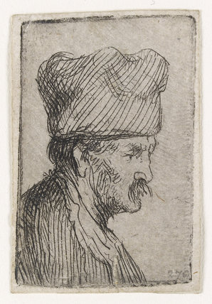 Man in a square Cap, in profile right