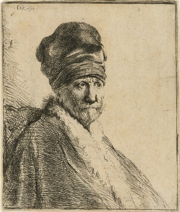 Bust of a man wearing a high Cap, three-quarters right: The Artist's Father (possibly