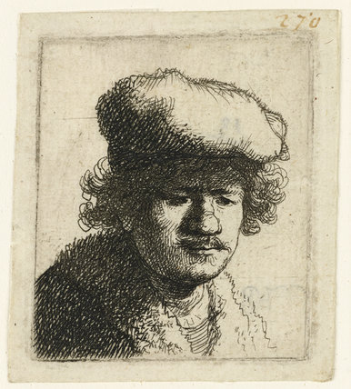 Self-portrait with Cap pulled forward