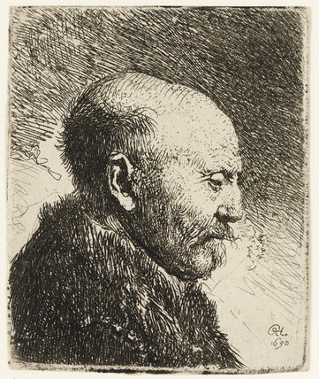 Bald headed Man in profile right; the Artist's Father (possibly)