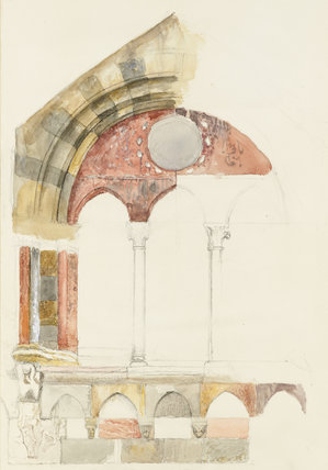 A Window of the Broletto, Como: rapid Sketch in Colour, showing Method of inlaying Marbles