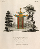 Oriental pagoda and plan