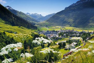 Nestled in the Urseren Valley, in the canton of Uri, lies Andermatt, a small skiing village.
