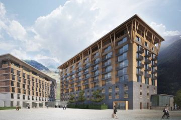 The next step of the project is a four-star apartment complex, named the Gotthard Residences, that has full hotel style service provided by Radisson Blu. Photo: Andermatt Swiss Alps. Photo: Andermatt Swiss Alps