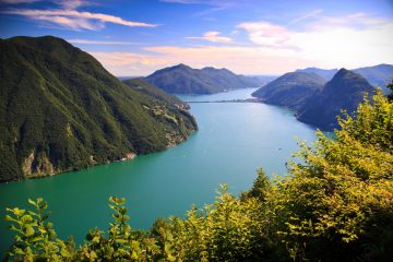 Lake Lugano is located at the border of the Southern Switzerland and Northern Italy.