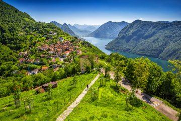 View to Lugano city, Lake Lugano and Monte San Salvatore from Monte Bre, Ticino, Switzerland