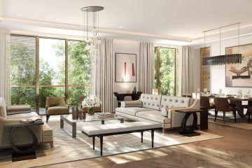 Holland Park Villas. Living room with dining room. Kensington.