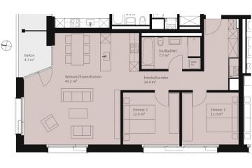 Layout plan of the 2-bedroom apartment in the Apartment House Wolf