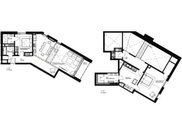Layout plan of the 2-bedroom duplex apartment in the Apartment House Schneefalke