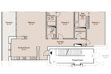Layout plan of the 2-bedroom apartment in the Apartment House Hirsch