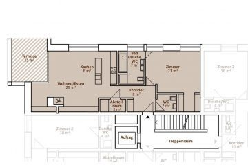 Layout plan of the 1-bedroom apartment in the Apartment House Steinadler