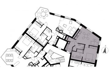 Layout plan of the 1-bedroom unit in the Apartment House Alpenrose