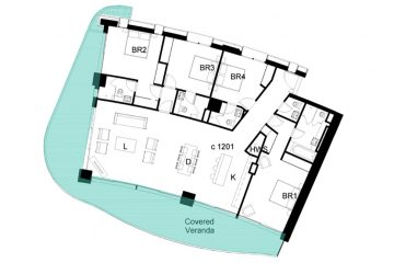 Layout plan of the 4-bedroom penthouse in Limassol Del Mar