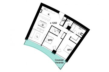Layout plan of the 2-bedroom apartment in Limassol Del Mar