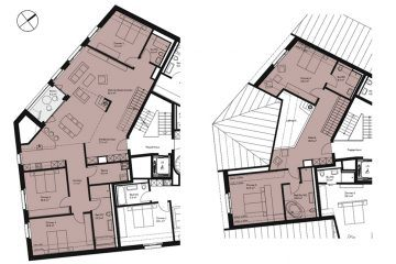 Layout plan of the 5-bedroom duplex apartmentin Apartment House Edelweiss