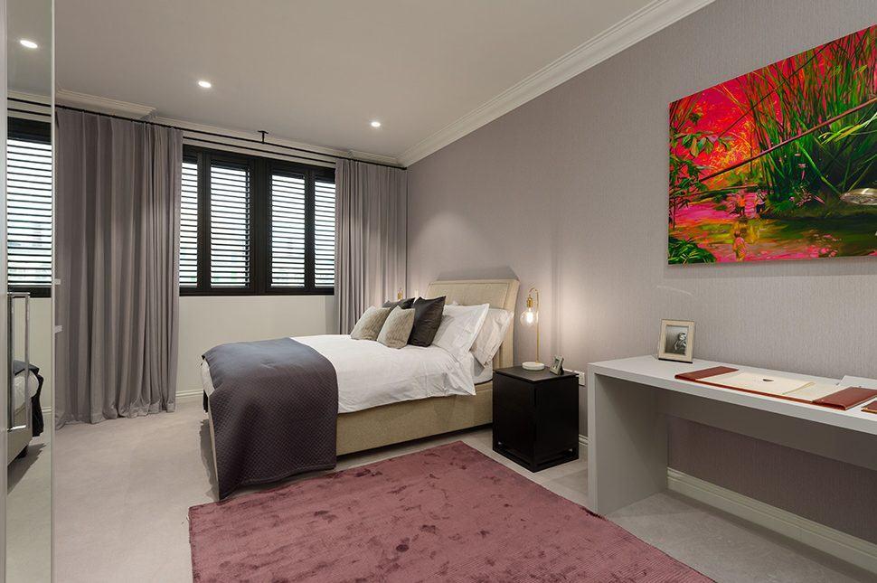 Collingwood House. A bedroom. Mercers Rd.