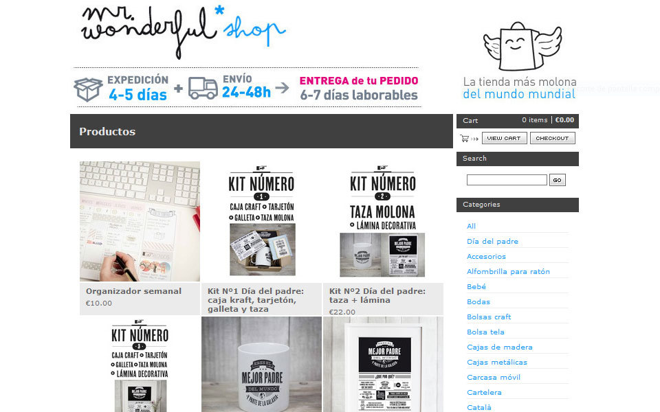 La tienda de Mr Wonderful en Big Cartel en 2013