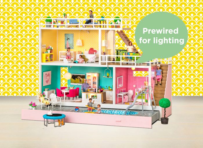 Lighting for dollhouses Miniature The Dolls House For Lovers Of Summer And Sunshine Theres Large Roof Terrace Here For Wonderful Barbecue Evenings And Pullout Drawer With Dolls Houses Lundby