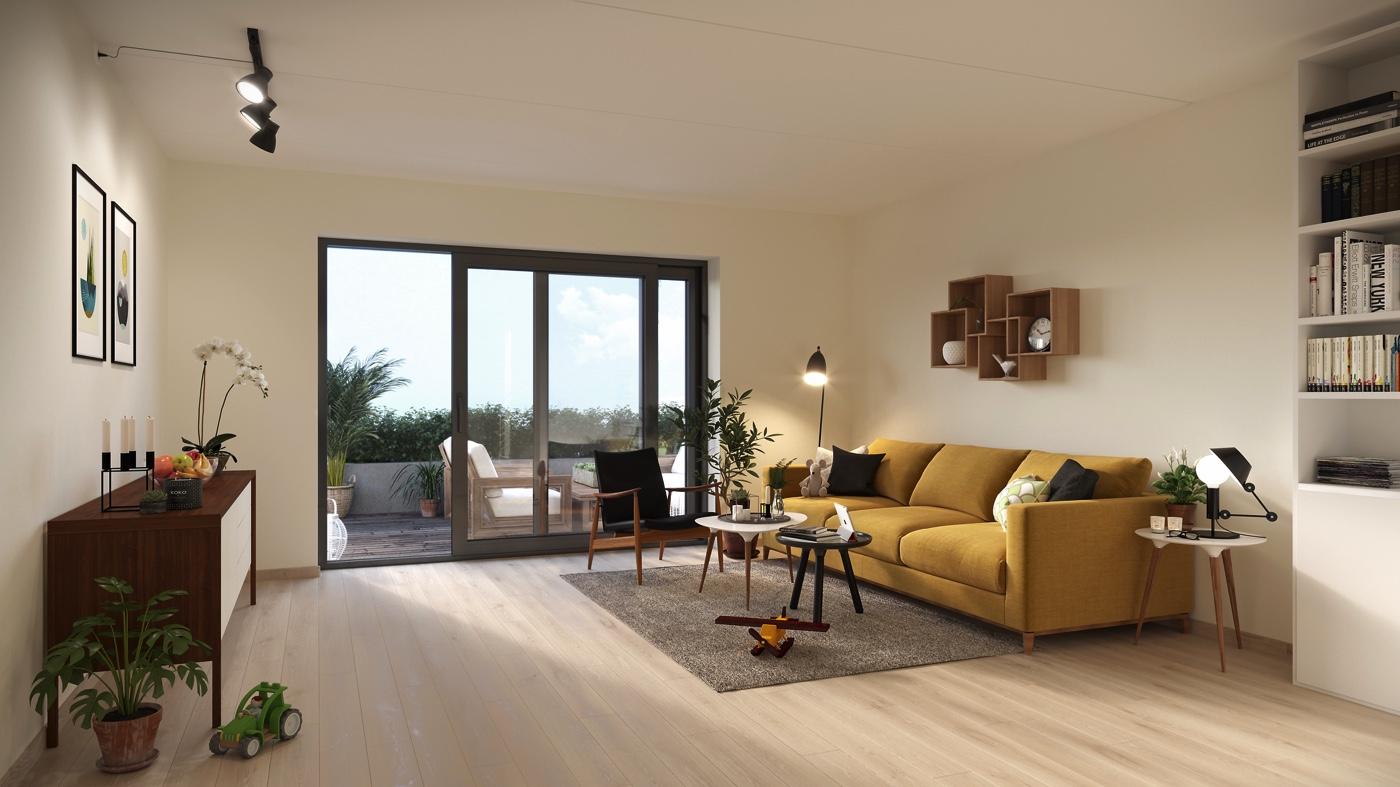 I 2-plans leiligheten kan du nyte late dager sammen med familien på terrassen.
