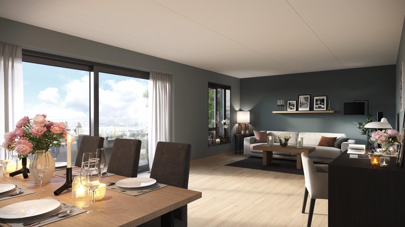 De romslige premiumsleilighetene har opp til flere takterrasser og luftige planløsninger. Invitér gode venner og familie til en hyggelig søndagsmiddag rundt langbordet.
