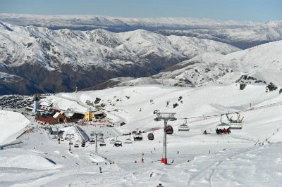 Cardrona Alpine Resort view of the slopes and ski lifts