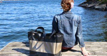 drop Nautical Handbag with girl on dock