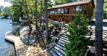 Lakeshore Drive Gravenhurst Luxury Cottage on Lake Muskoka exterior view of decks