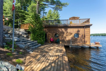 Lakeshore Drive Gravenhurst Luxury Cottage on Lake Muskoka boathouse
