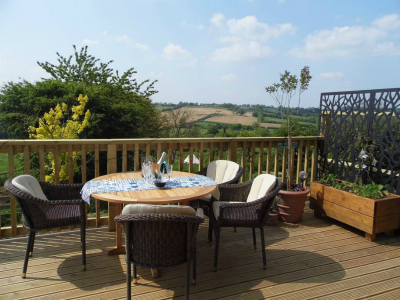 Blue Vale balcony with views over countryside