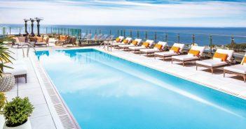 Hotel X outdoor pool overlooking Lake Ontario