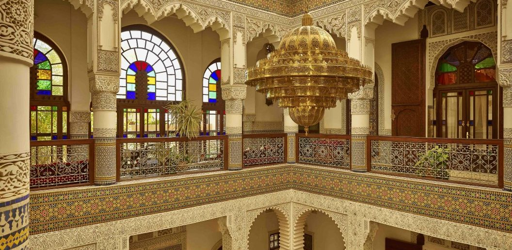 Riad Fes with its huge chandelier and lobby