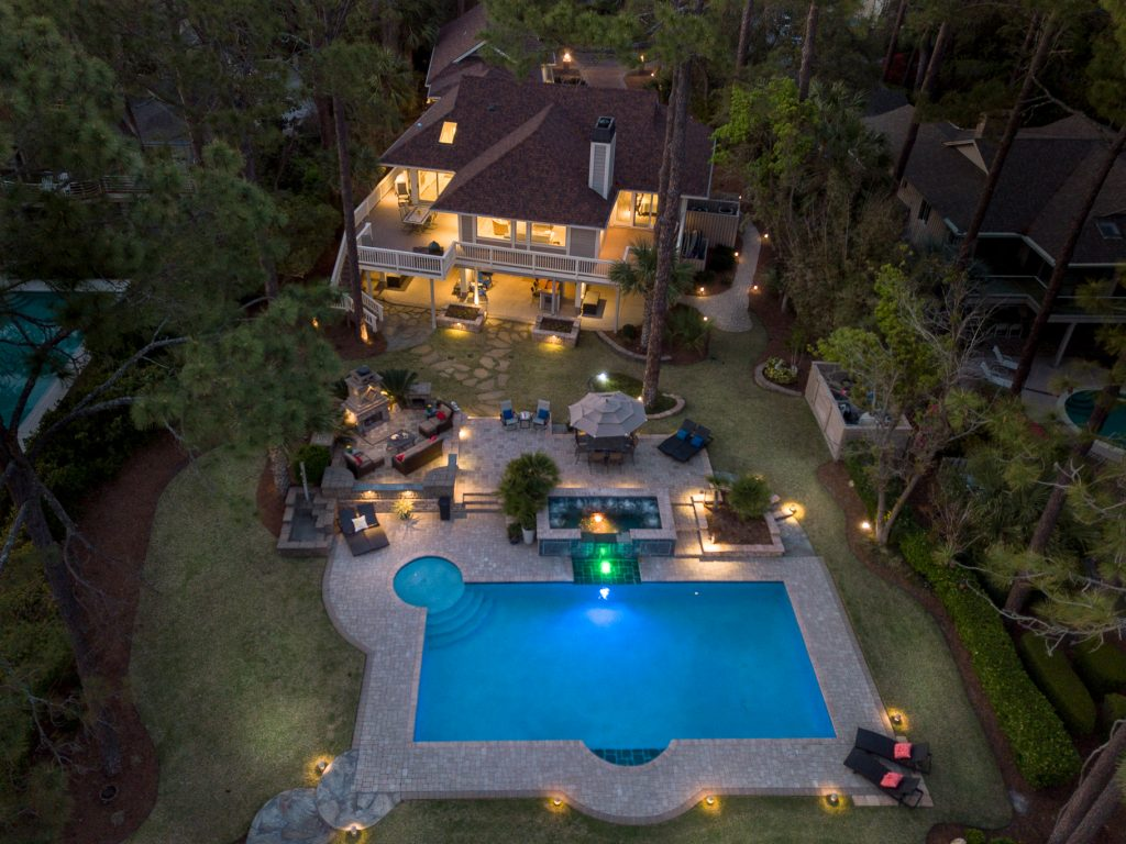Hilton Head luxury home aerial view with pool