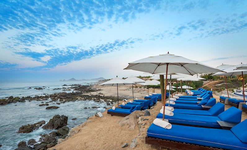 View of beach and umbrellas at Hacienda Encantada in Mexico