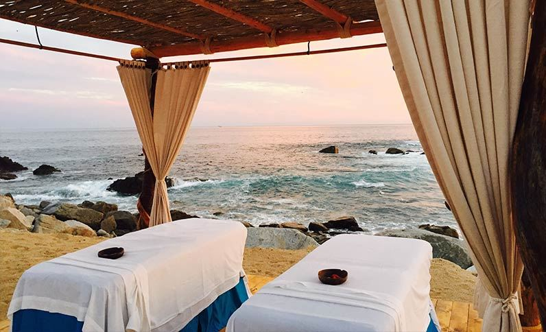 View from the outdoor oceanfront massage tables at Hacienda Encantada Resort