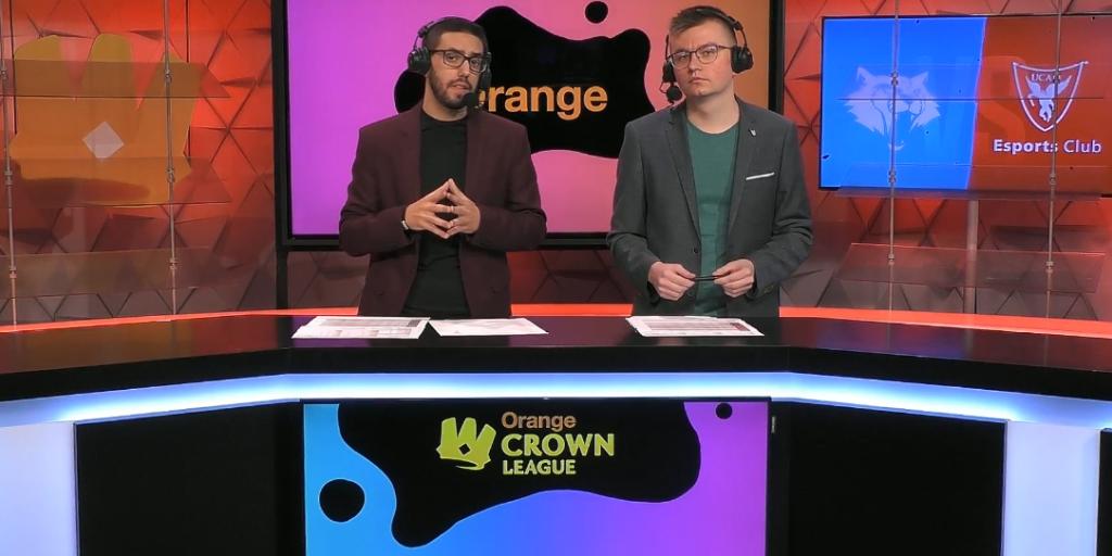 Foto de Shiki y Naginata retransmitiendo la Orange Crown League