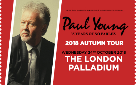 Don't miss the opportunity to watch the legendary Paul Young performing live at The London Palladium. Buy theatre tickets.