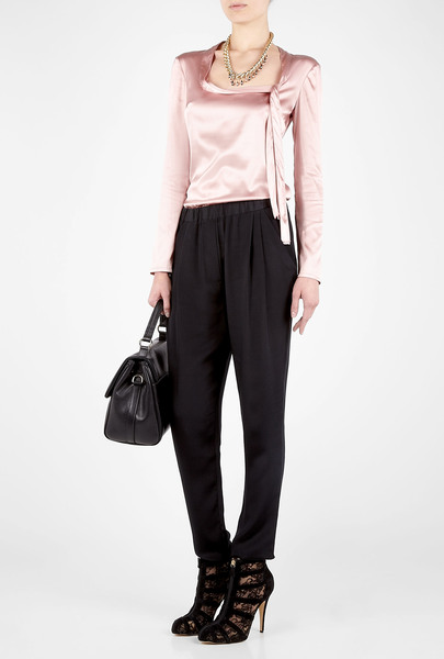 D&g Pink Scoop Neck Collar Bow Blouse in Pink