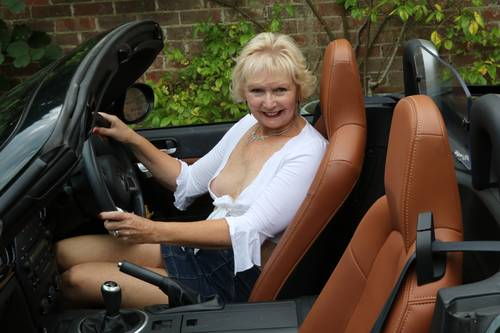 amateur mature displayed car