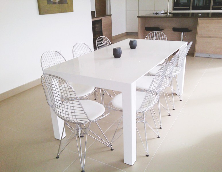 Bramante White Gloss Extending Dining Table  made