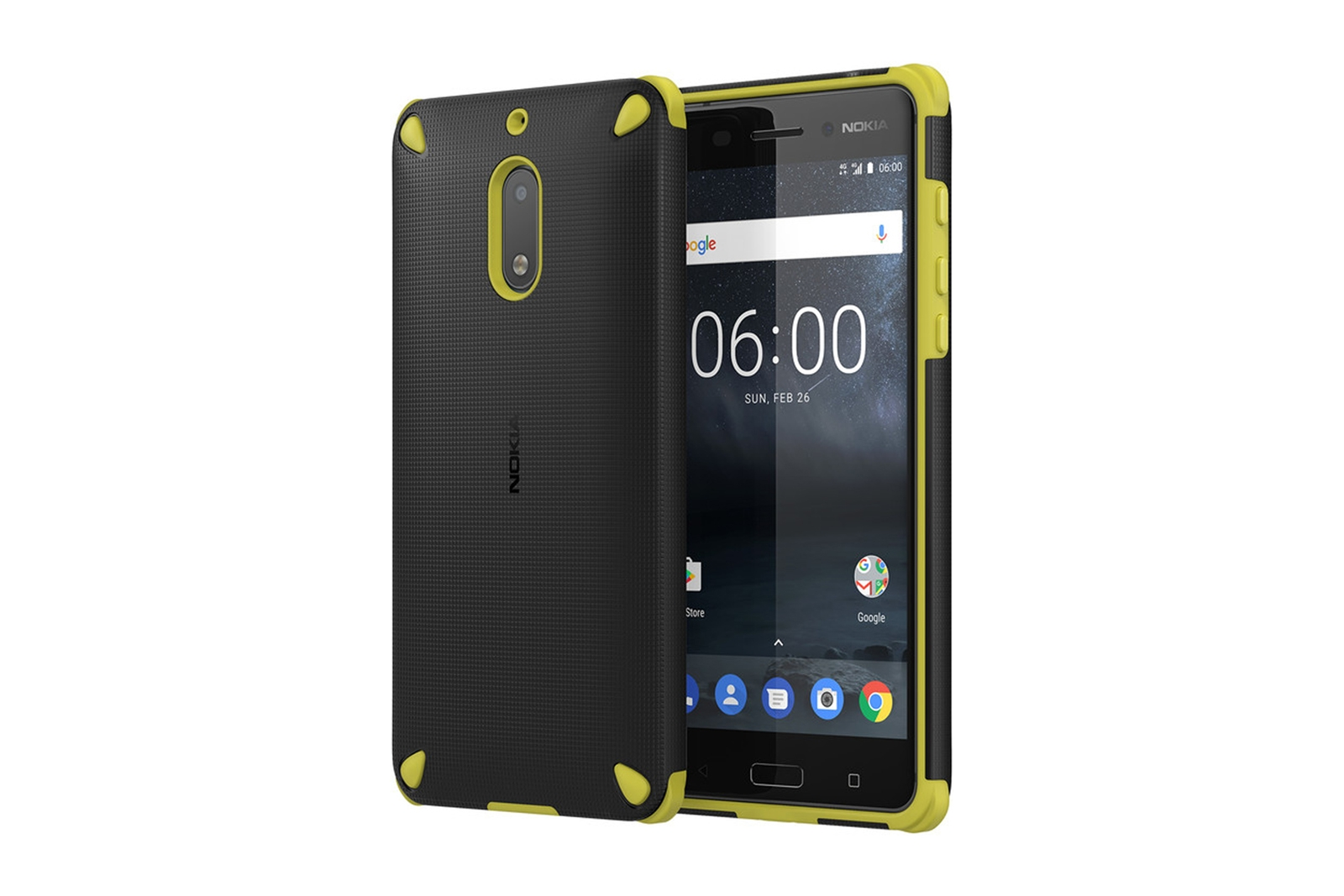 best loved 02005 9eb12 Details about Official Nokia 6 Lemon Black Rugerised Protective Shell Case  - CC-501