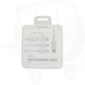 Official Samsung 3-in-1 White Micro USB & Type C Charge & Sync Cable - S8, S9, Note 8