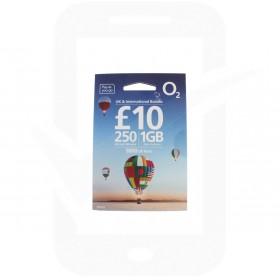 O2 £10 International Triple Pre Pay SIM Card