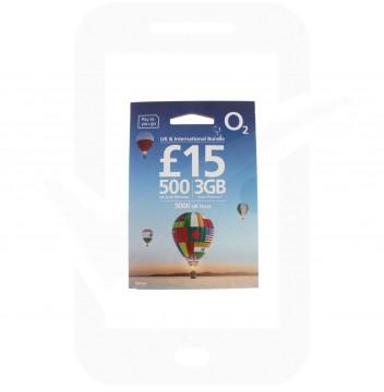 O2 £15 International Triple Pre Pay SIM Card