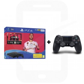 Sony PlayStation 4 Slim 500GB Console With FIFA 20 + Additional Black Dualshock 4 Controller Promotion